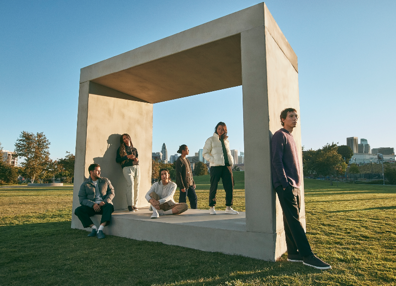 Allbirds apparel group photo with models wearing various items
