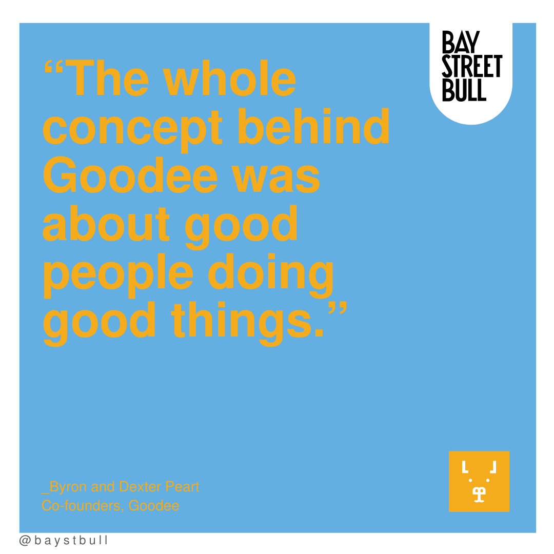 Goodee quote in yellow writing and blue background