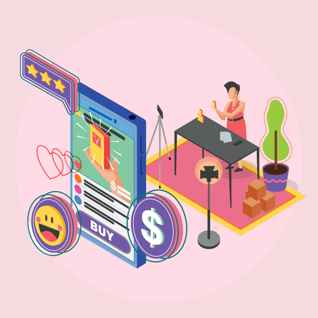 Illustration of woman shopping online