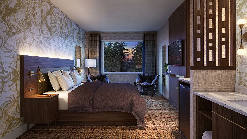Motel room with bed