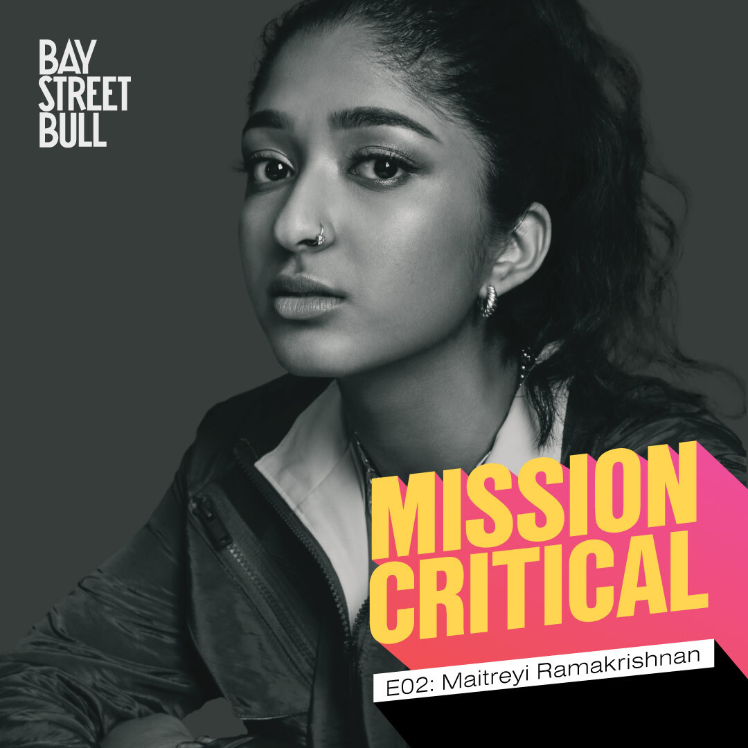 Black and white image of actor Maitreyi Ramakrishnan with mission critical and Bay Street Bull logo