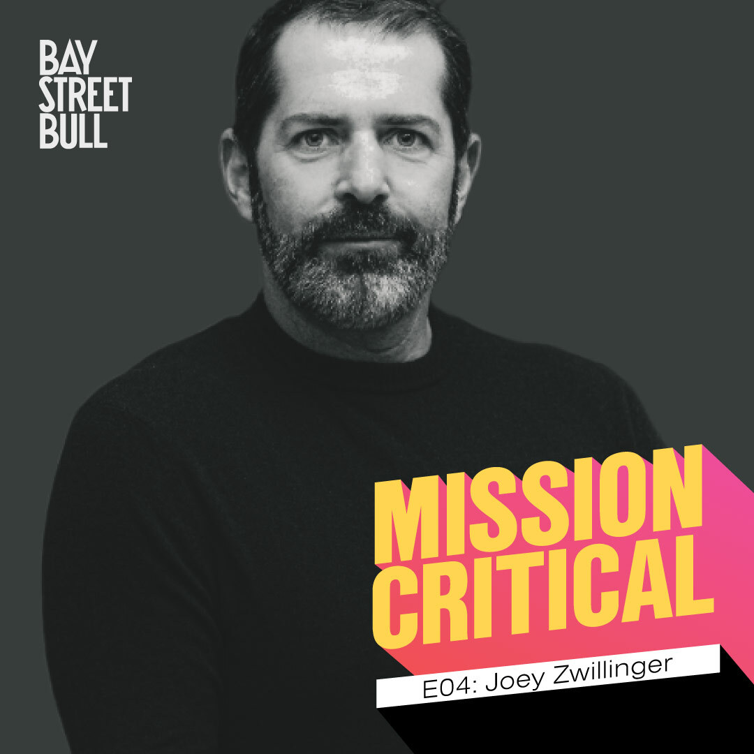 Joey Zwillinger black and white photo with Mission Critical branding