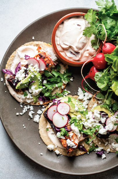 Salmon tacos with chipotle crema