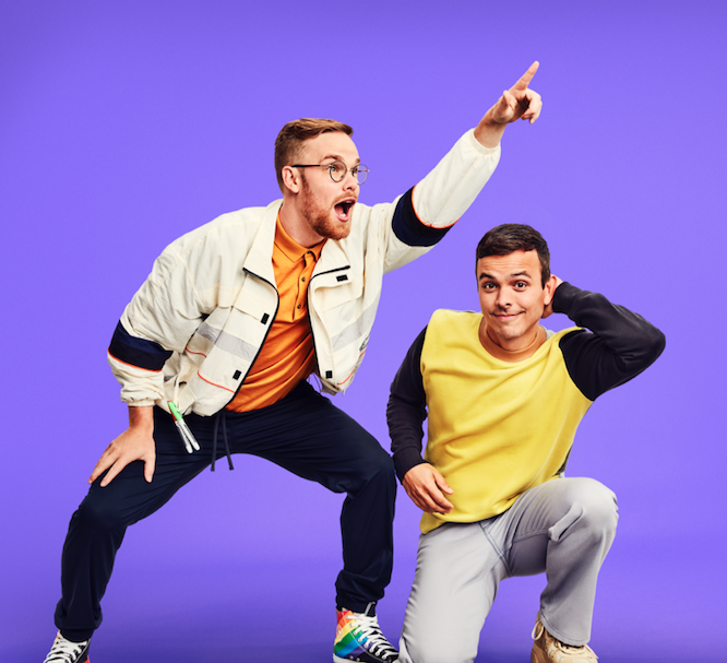 AsapSCIENCE duo Greg Brown and Mitchell Moffit against purple background