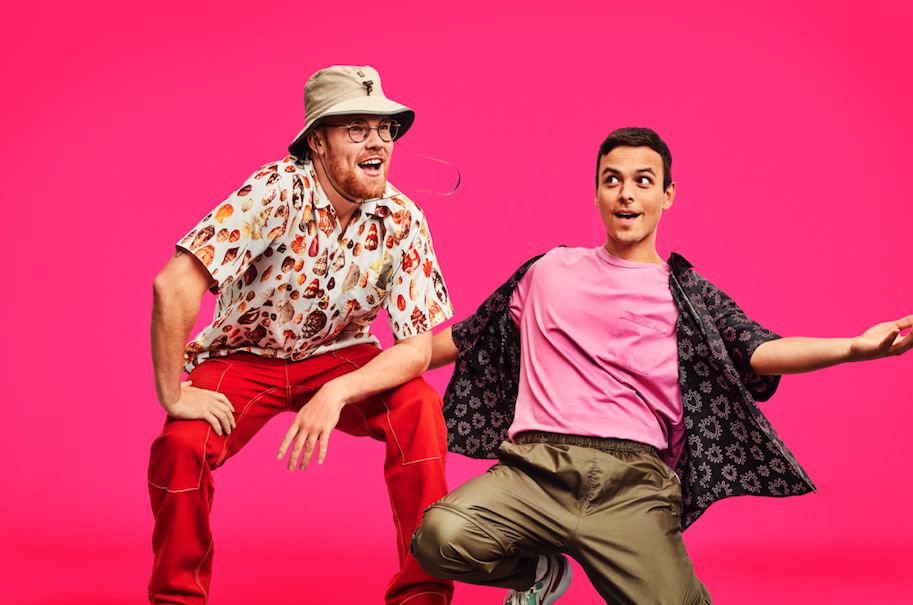 AsapSCIENCE duo Greg Brown and Mitchell Moffit against pink background