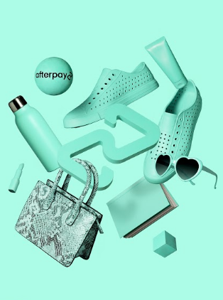 Afterpay visual in turquoise with various shopping items