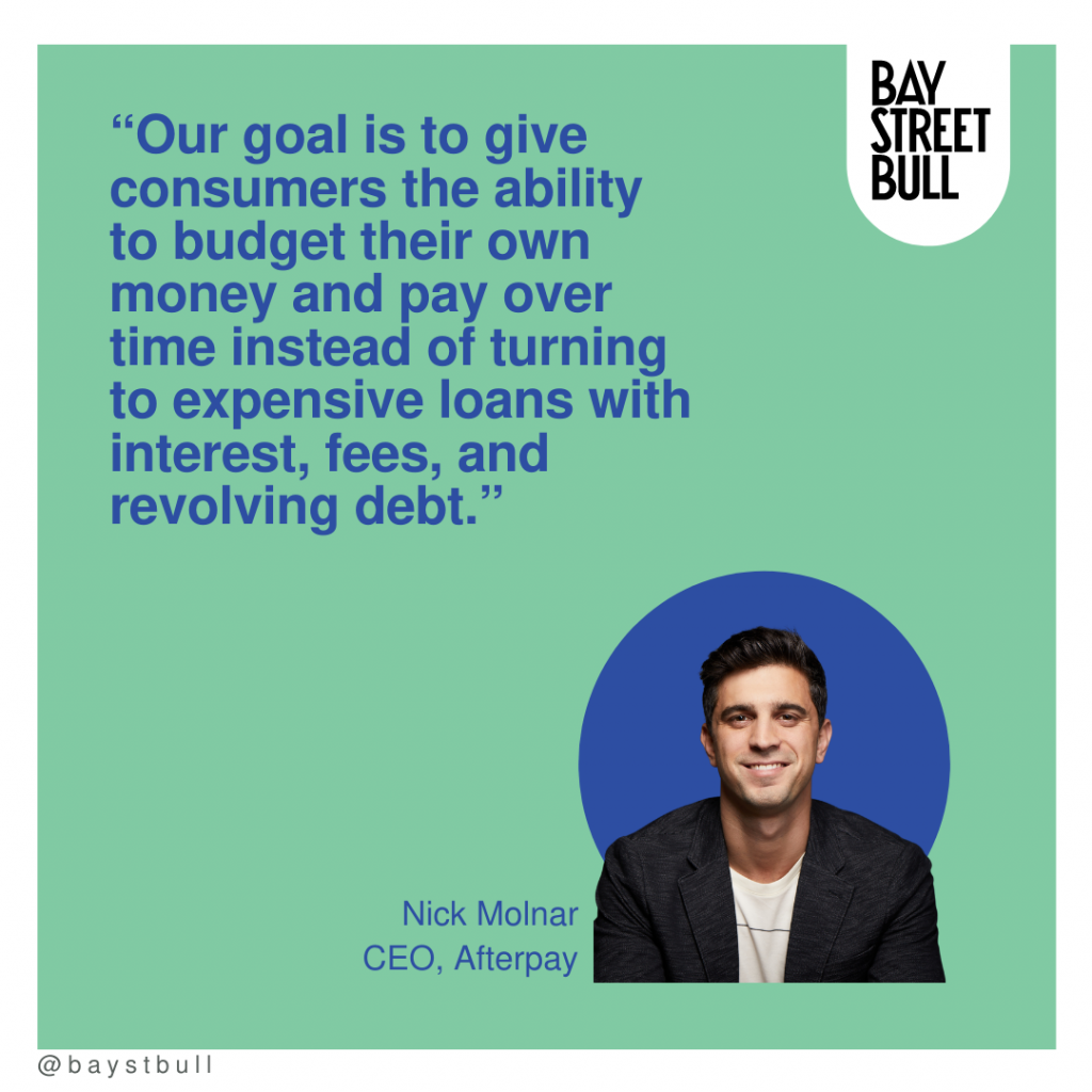 Afterpay CEO Nick Molnar quote on green background with blue writing and photo of Nick