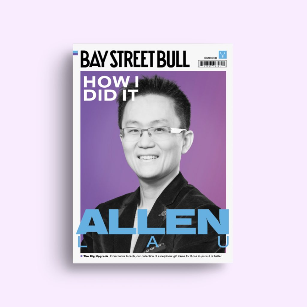 Wattpad CEO Allen Lau on cover of Bay Street Bull with purple background