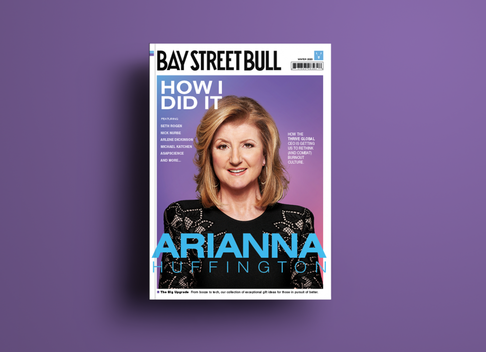 Arianna Huffington on cover of Bay Street Bull with purple background