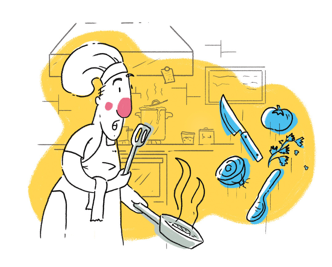 Illustration of chef in ghost kitchen