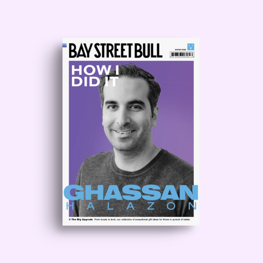 EMERGE Commerce Ghassan Halazon wearing sweater on cover of Bay Street Bull magazine with purple background
