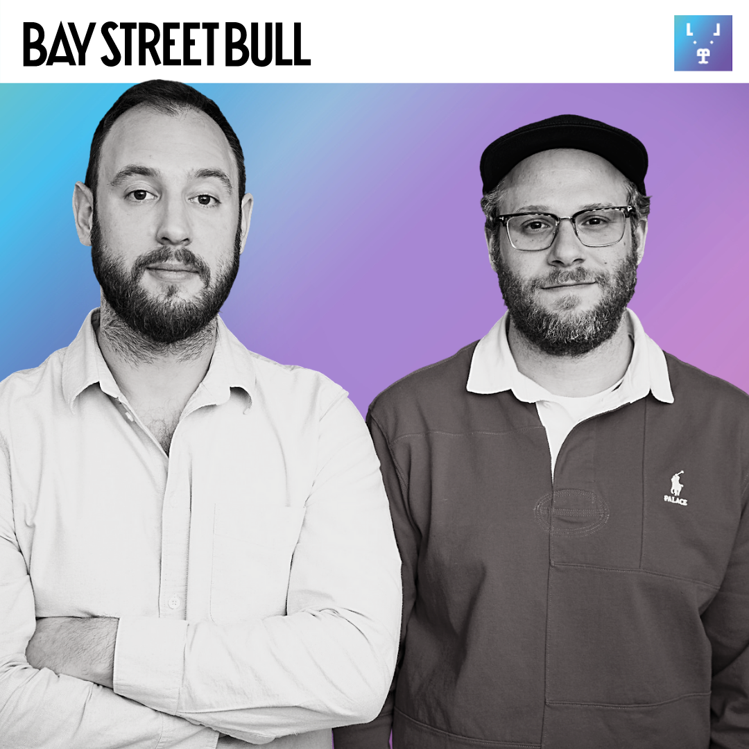 Houseplant co-founders Evan Goldberg and Seth Rogen standing beside each other