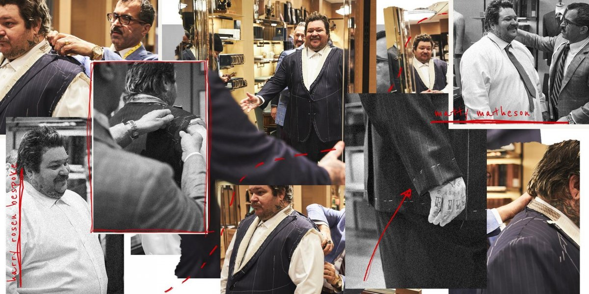 Collage of chef Matty Matheson getting a custom suit made