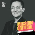 Wattpad CEO Allen Lau wearing blazer in black and white photo with Mission Critical and Bay Street Bull branding
