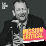 Toronto Raptors Nick Nurse wearing suit in front of microphone in black and white photo with Mission Critical and Bay Street Bull branding