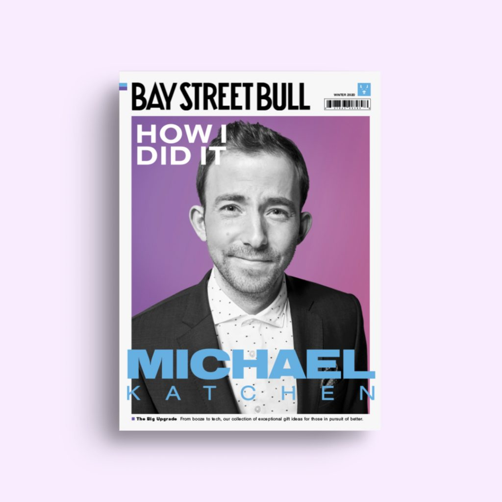 Wealthsimple CEO Michael Katchen on cover of Bay Street Bull against purple background