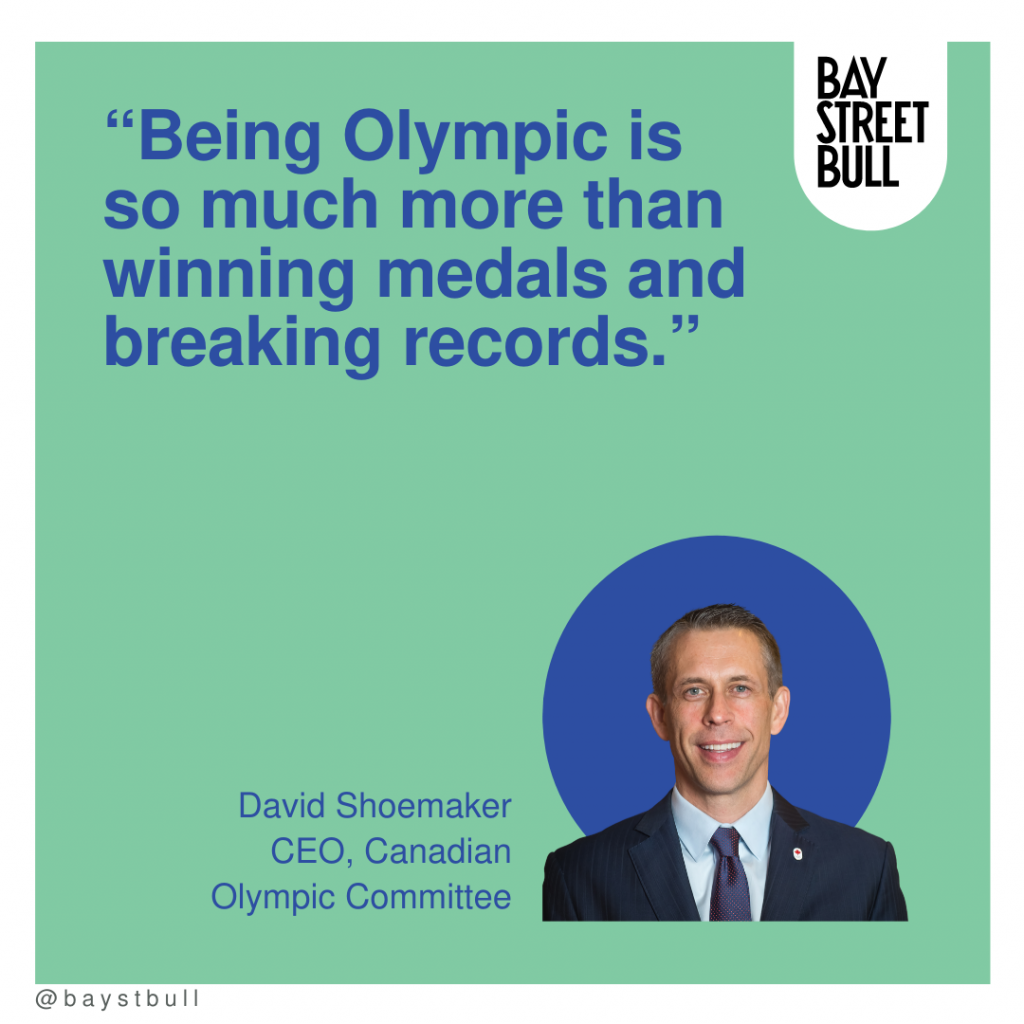 David Shoemaker quote on green background with blue writing