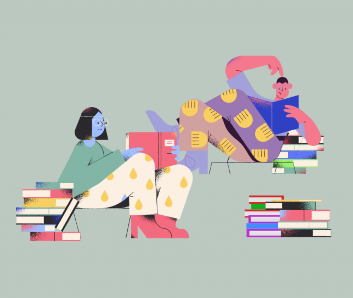 Illustration of man and woman reading books
