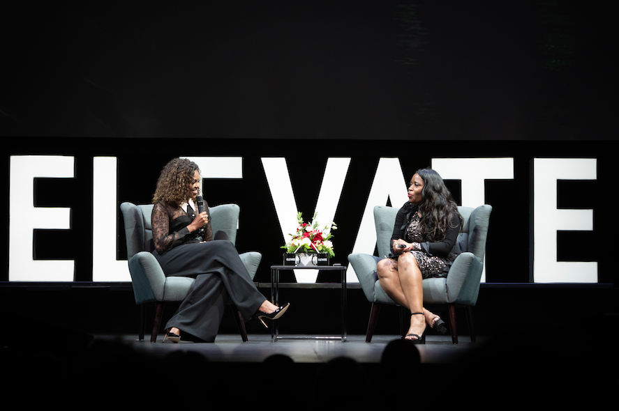 Michelle Obama being interviewed by Claudette McGowan on ELEVATE stage