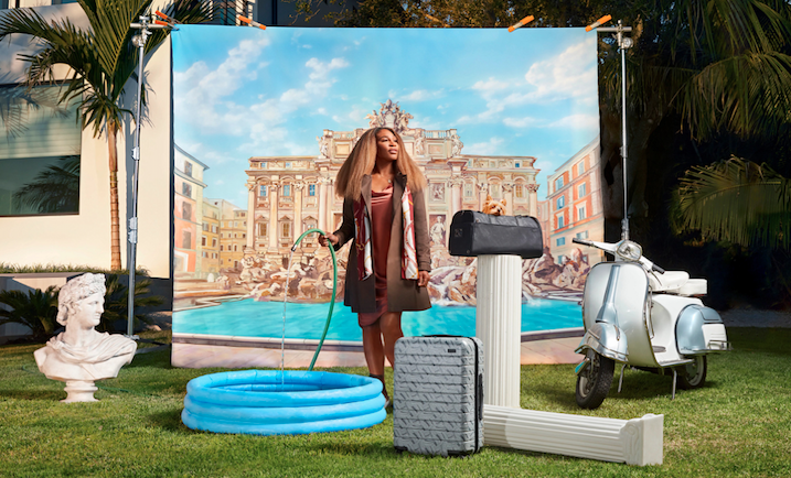 Serena Williams standing with inflatable pool and Away luggage