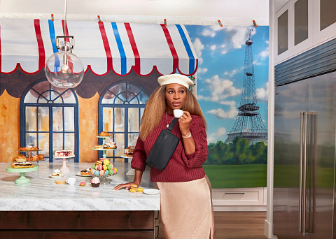 Serena Williams in kitchen with baked treats
