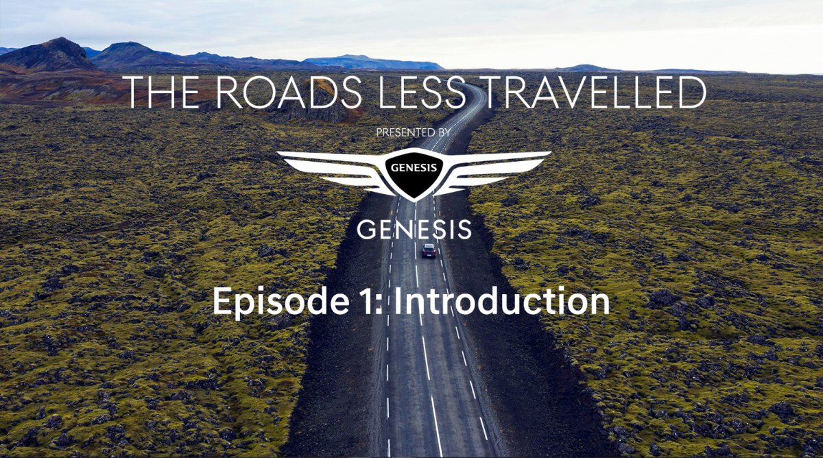 Genesis branding with road and landscape imagery