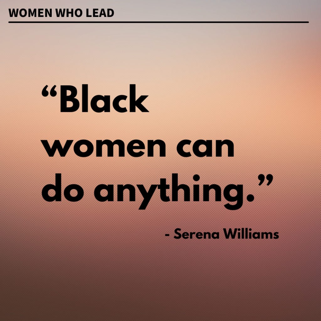 Serena Williams quote on ombre brown background