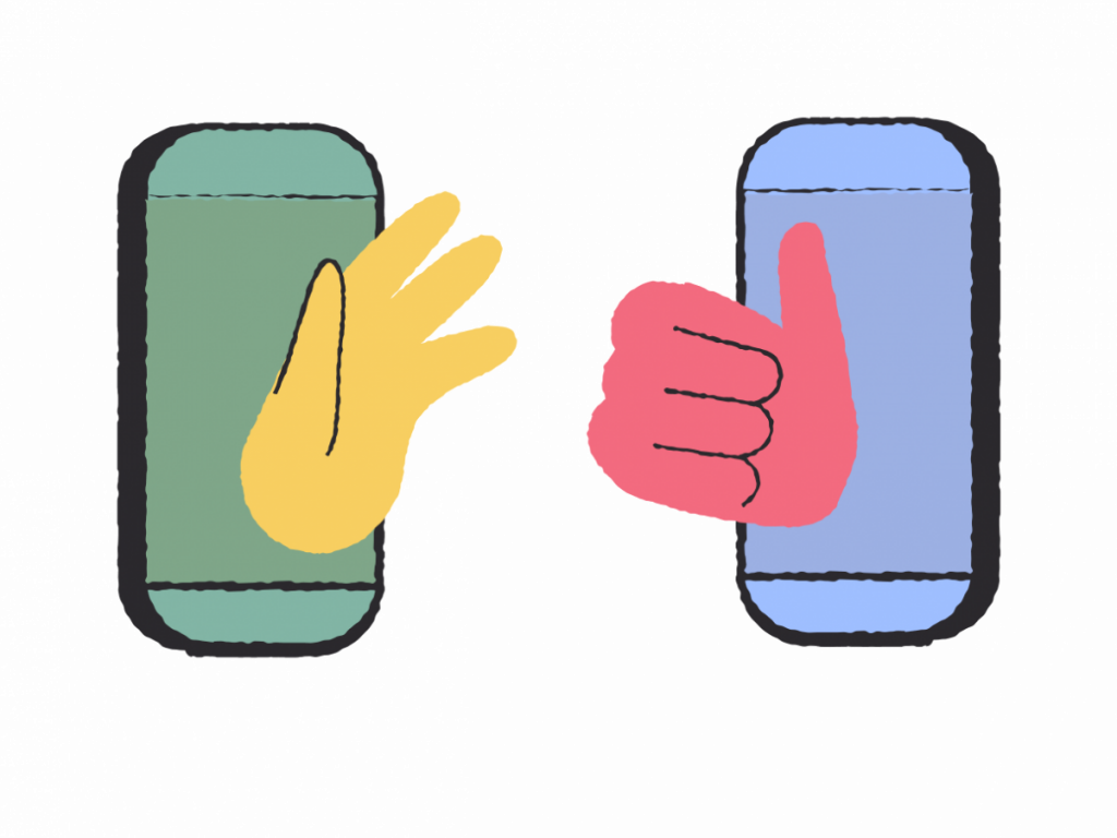 two phones with hands waving