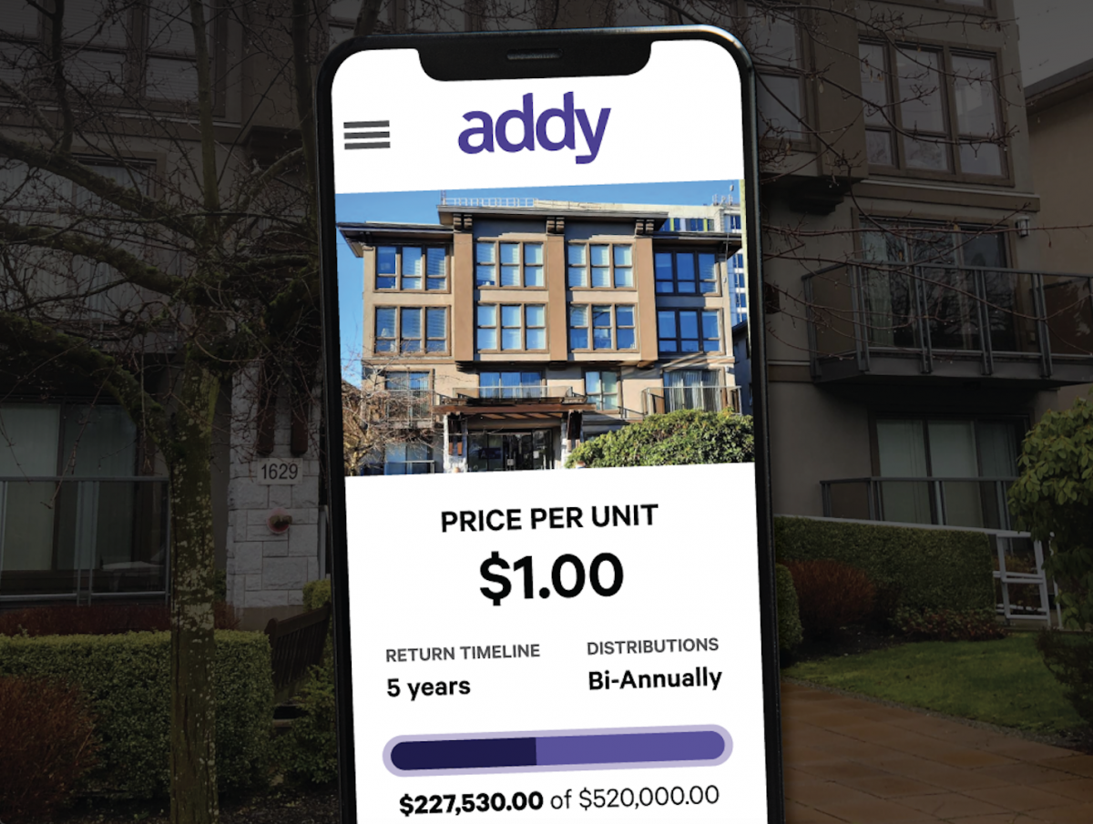 Screenshoot of the addy platform that shows an available house to invest in and the cost of $1