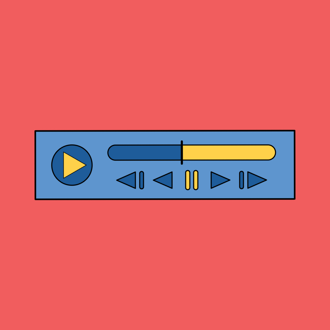 A graphic of an audio player to represent podcasts produced or hosted by women