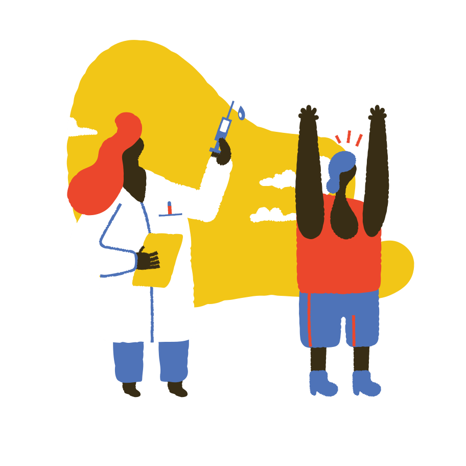 A graphic of a doctor with a needle about to give a vaccine, representing how BookJane helps with the vaccine rollout.