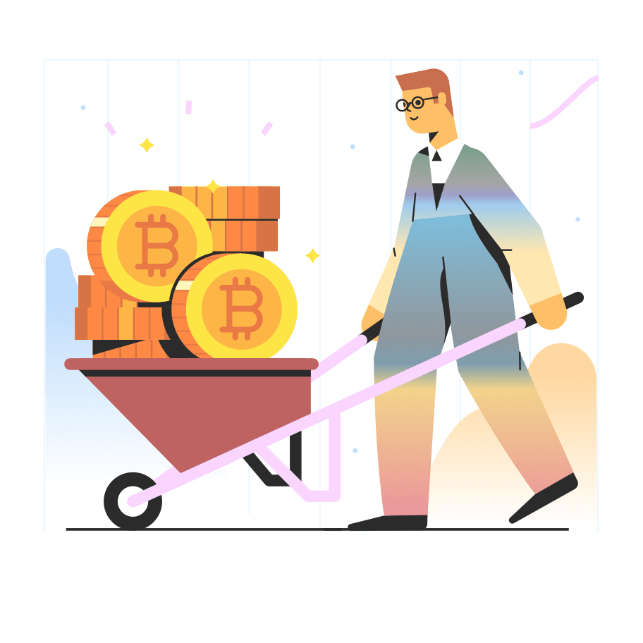 A graphic of a man holding a wheelbarrow full of bitcoin to represent cryptocurrency trends.