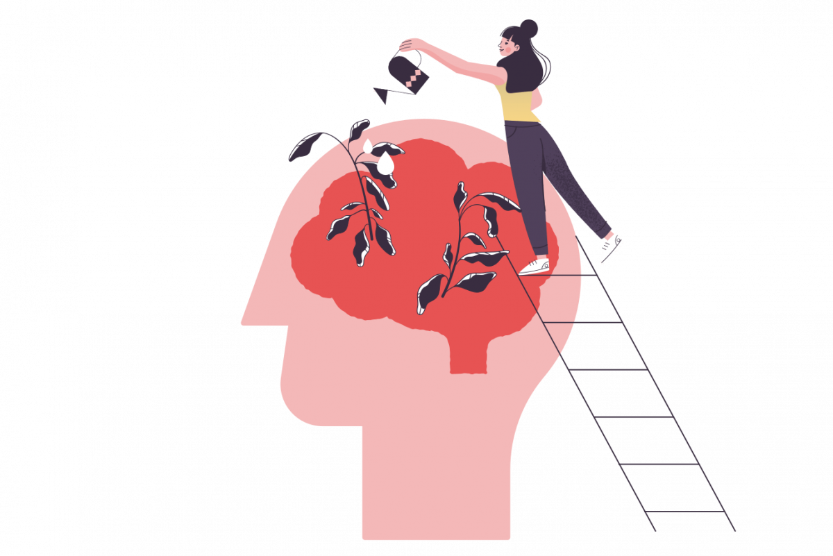 graphic of a woman watering her brain to depict positive mental health