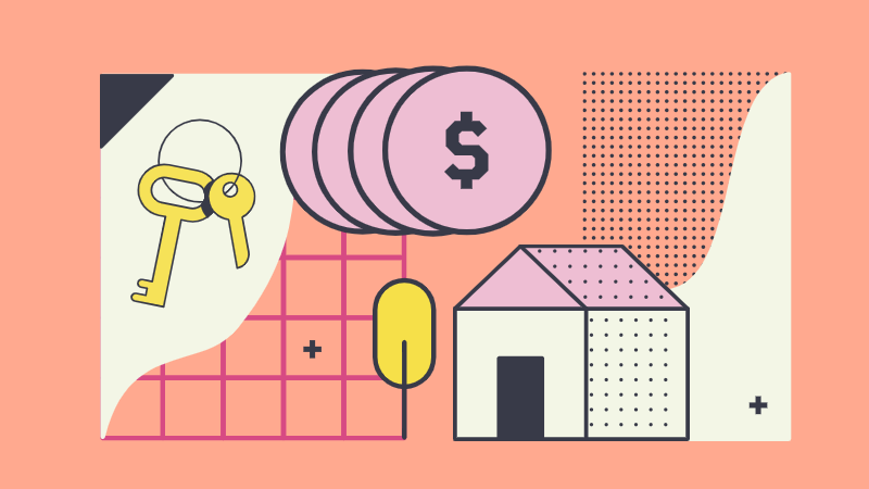 A graphic of a house, keys, and money to represent Rhenti and the rental market