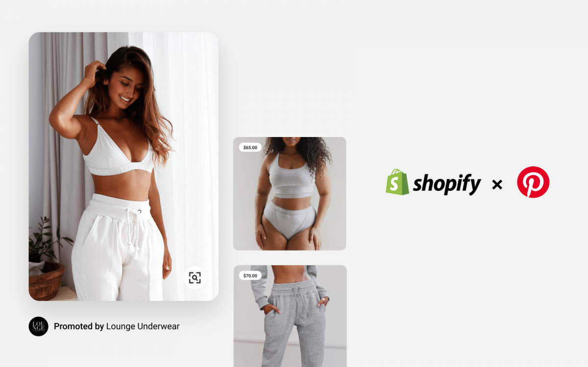 A display of Pinterest posts showing loungewear items to represent the platform's partnership with Shopify