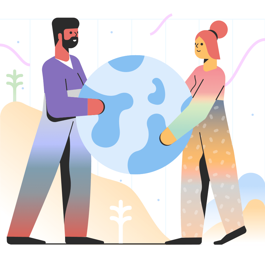A graphic of two people holding the earth to represent earth day and sustainable canadian brands