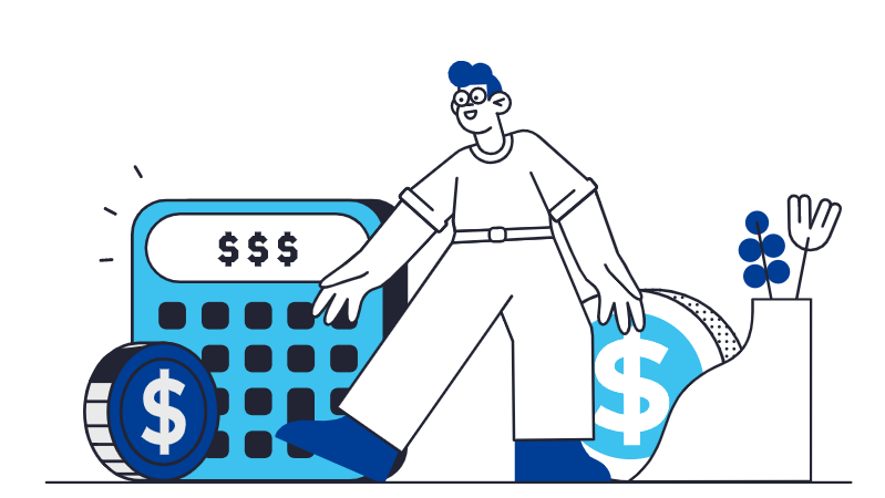 a graphic of a man with a calculator and money to represent the lack of financial literacy in millenials