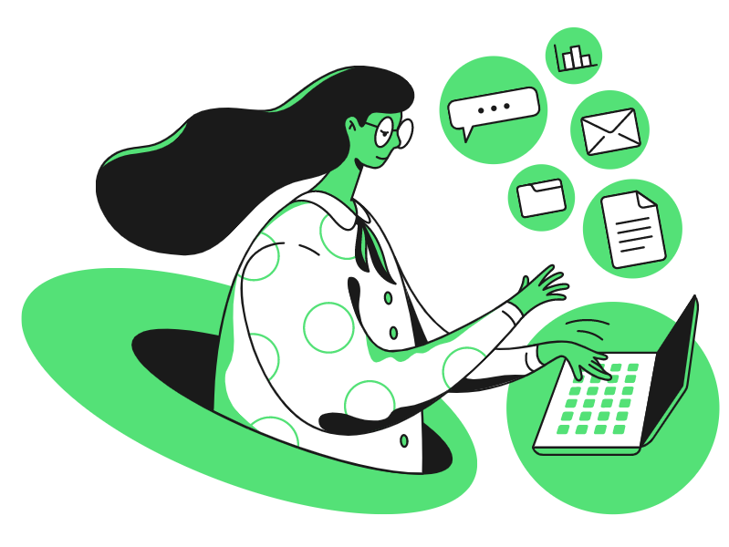 A graphic of a woman working on a computer to represent how addressing the she-cession can help recover the Canadian economy