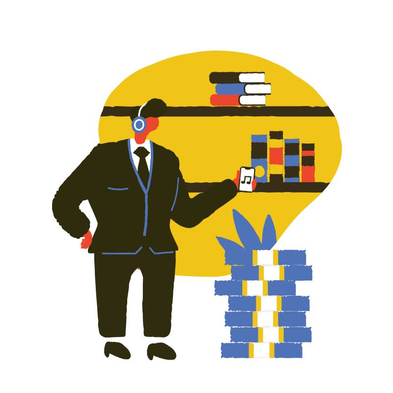 A graphic of a man wearing a suit, listening to headphones surrounded by books to represent learning from FinTech Podcasts