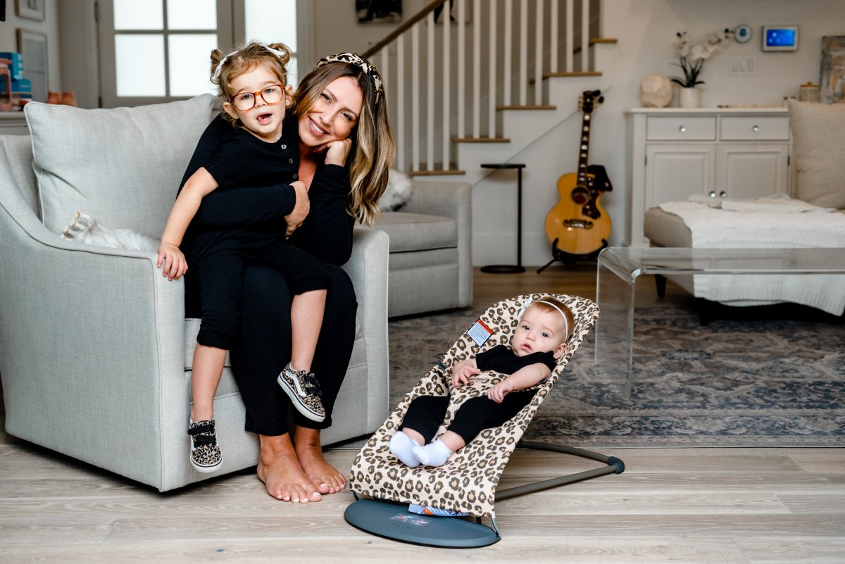 A photo of Ashley Freeborn and her two daughters for Mother's Day