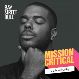 A black and white photo of Donté Colley, Content Creator, with his chin resting on his hand and his eyes closed. Bay St. Bull and Mission Critical branding.