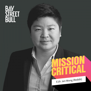 A black and white photo of Jen Wong, COO of Reddit in a button-down and a blazer. Bay St. Bull, Mission Critical Branding
