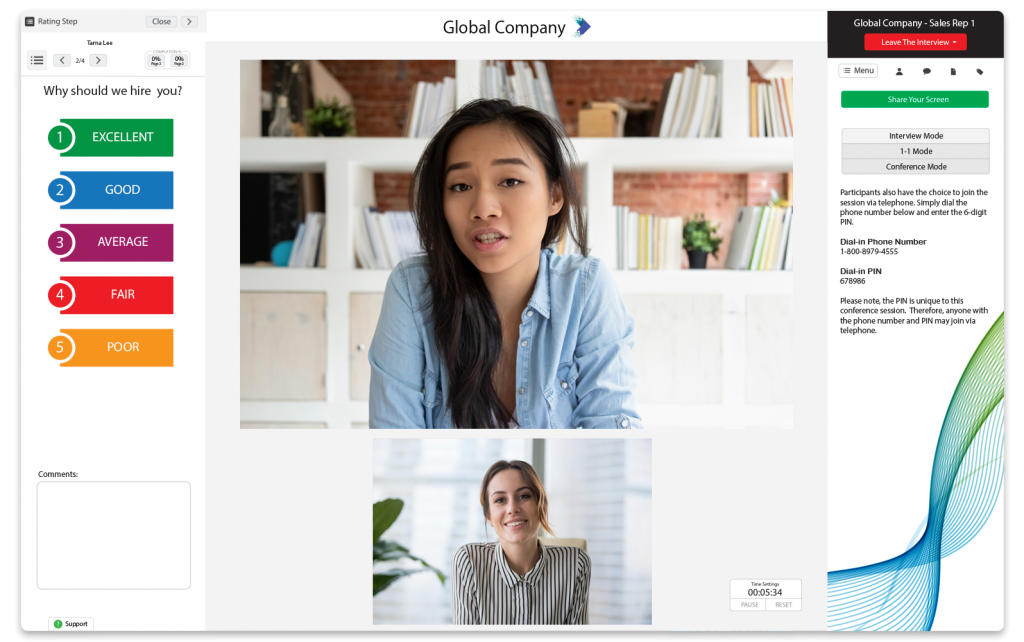 A screen of two woman doing a live video interview to represent this articles virtual interview tips.