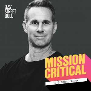 A black and white photo of Scott Cutler, CEO of StockX wearing a black crewneck long-sleeved shirt. The photo has Bay Street Bull: Mission Critical branding