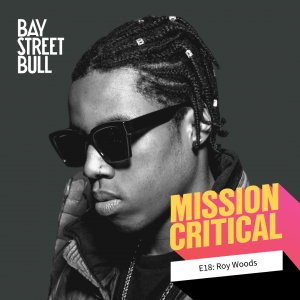 black and white photo of Roy Woods (musician) in sunglasses. Bay Street Bull, Mission Critical branding.