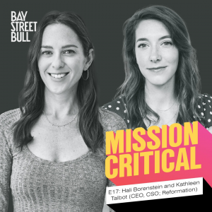 A black and white photo of Hali Borenstein in a long-sleeve shirt and Kathleen Talbot in a polka dot blouse. Bay Street Bull and Mission Critical Branding.