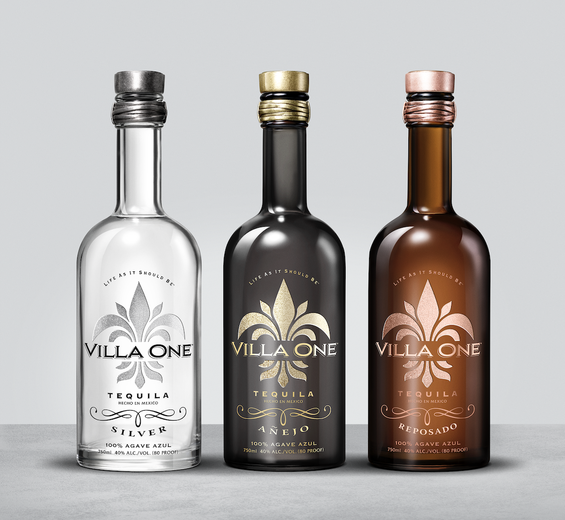 Three bottles of Villa One Tequila. One Silver, one Anejo, one Resposado.