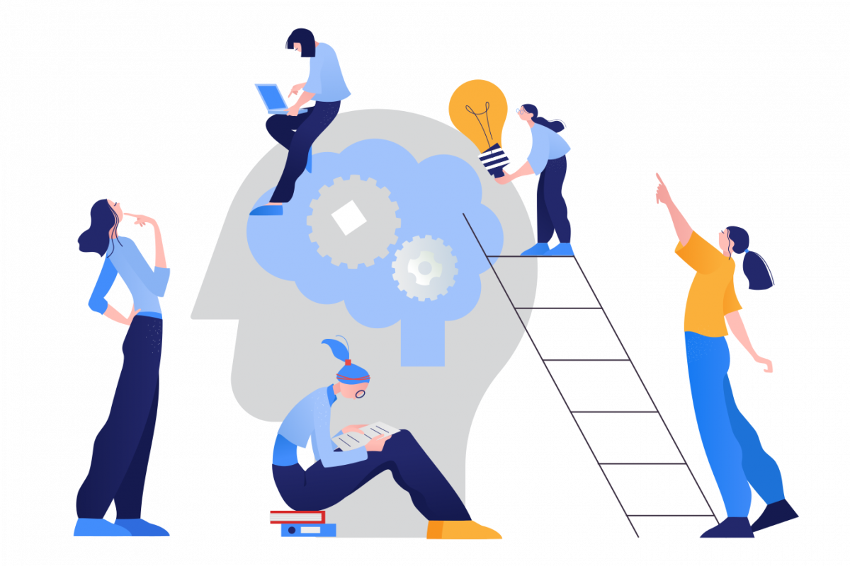 Graphic of workers working together to represent how a startup works.