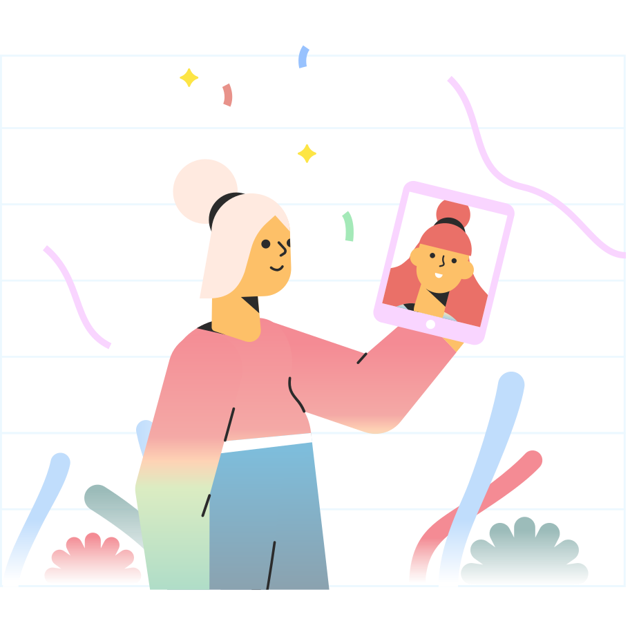 an illustration having a video call on her phone
