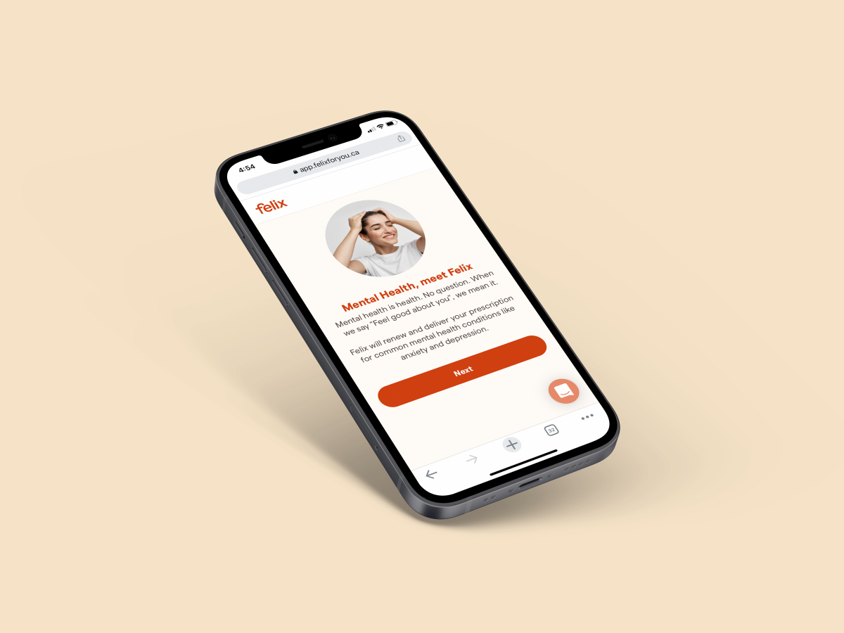 A mock up of an iphone screen on the Felix homepage to showcase the new Felix Mental Health services